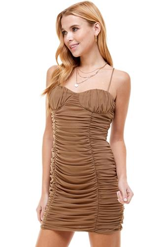 Ruched Bodycon Dress BROWN