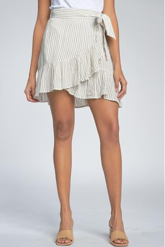Taupe Stripe Skirt MULTI