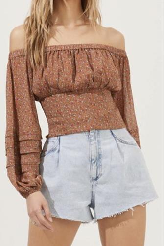 Off The Shoulder Cropped Volume Sleeve Top RUST