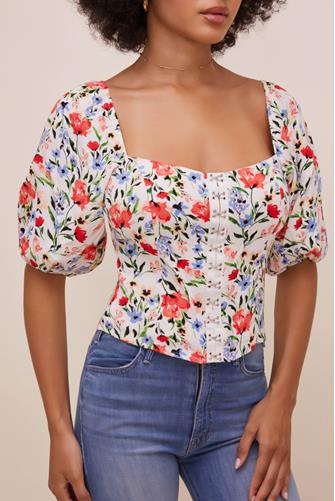 Floral Square Neck Top RED MULTI -