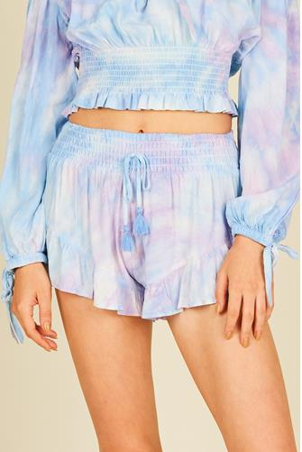 Tulum Lavender Tie Dye Ruffle Short PURPLE MULTI -
