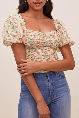 Tenley Floral Ruched Top GREEN MULTI -