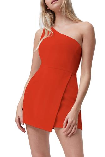 Red Whisper One Shoulder Dress RED