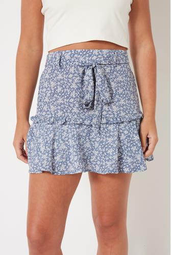 Blue Floral Tie Skirt BLUE MULTI -