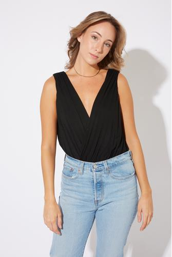 Drape V Bodysuit BLACK