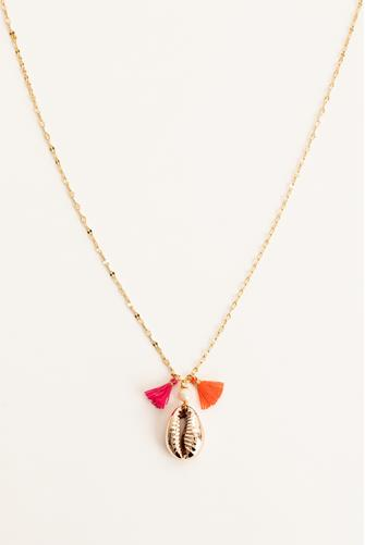 Gold Cowrie Shell Pendant Necklace GOLD