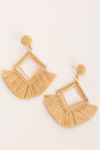 Raffia Fringe Earrings NATURAL
