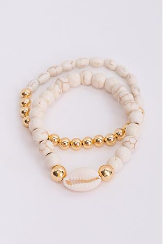 Howlite Gold & White Beaded Bracelet Set WHITE MULTI -