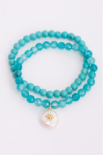 Turquoise & Pearl Drop Stretch Bracelet Set TURQUOISE