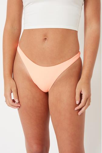Day Glow Eco Rib California High Leg Bikini Bottom ORANGE