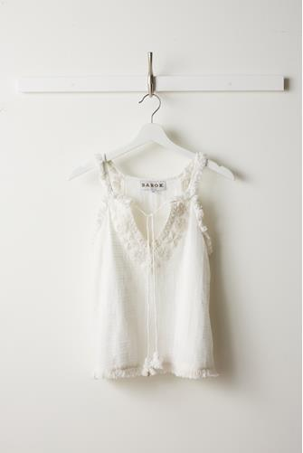 Beaded Fringe Sleeveless Top OFF WHITE