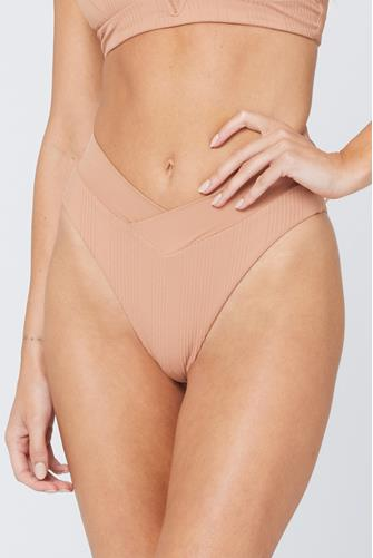 Putty Pointelle Rib Court Bikini Bottom BROWN