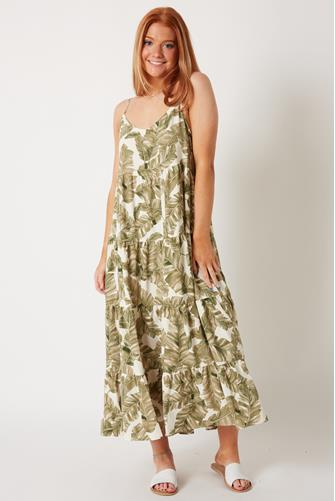 Palm Print Caroline Maxi Dress GREEN MULTI -