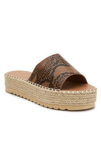 Snake Print Platform Slide Sandal BROWN MULTI -