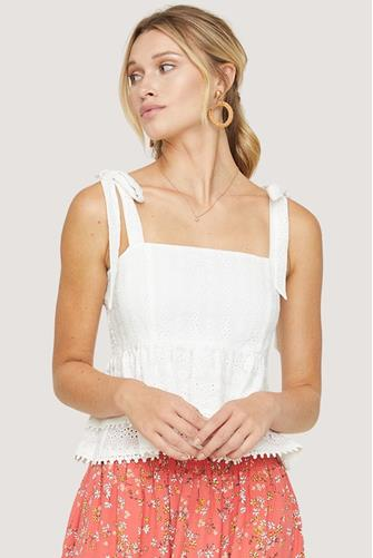 Middle Of Nowhere Ruffle Top WHITE