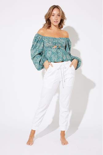 Ditsy Floral Keyhole Knit Top TEAL