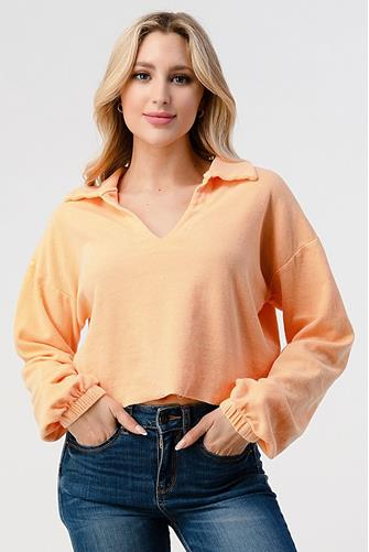 Polo Slit Neck Sweatshirt CORAL