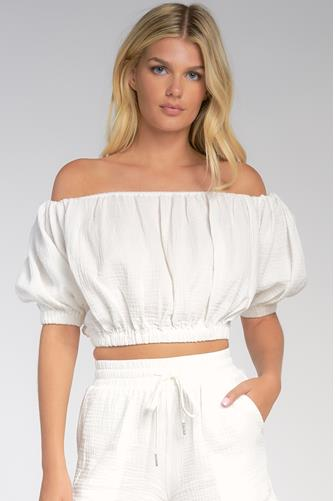 Off Shoulder Gauze Short Sleeve Top WHITE