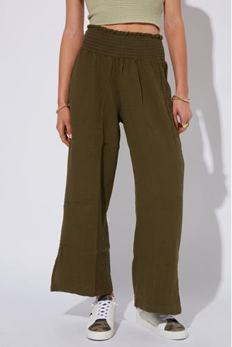Gauze Wide Leg Pant GREEN