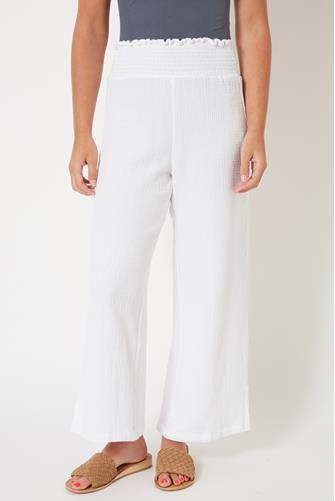 White Wide Leg Gauze Pant WHITE