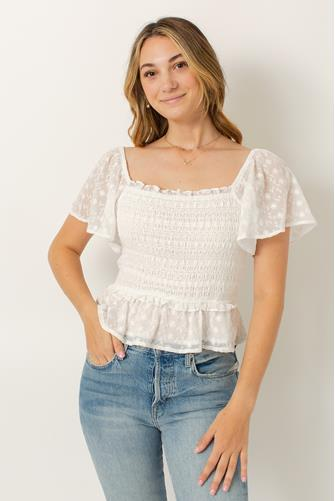 Off White January Smocked Flutter Sleeve Top OFF WHITE