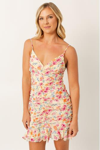 Ruched Cami Mini Floral Dress PINK MULTI -