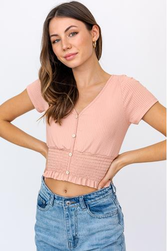 Smocked Bottom Button Front Top PEACH