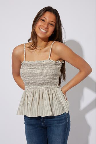 Smocked Peplum Tank Top CHARCOAL