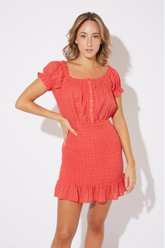 Off Shoulder Button Front Mini Dress RED