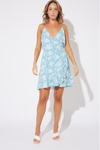 Floral Ruffle Wrap Dress LITE BLUE