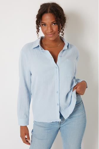 Gauze Button Down Shirt BLUE