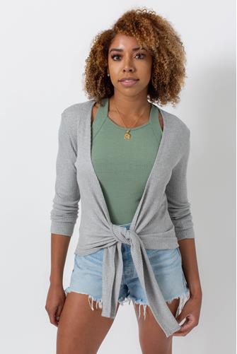Ribbed Tie Front Long Sleeve Top GREY