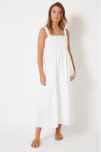 Ekeze Rhodes Solid Sun Dress WHITE