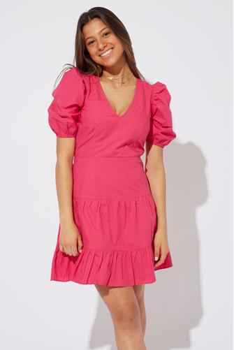 Birch Poplin Puff Sleeve Mini Dress HOT PINK