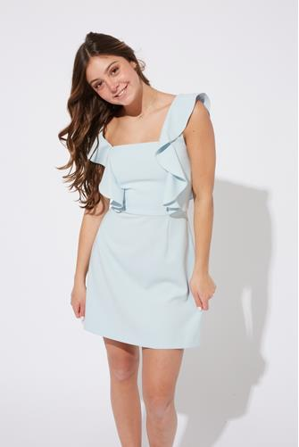Whisper Square Neck Ruffle Dress LITE BLUE