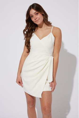 White Whisper V-Neck Bow Envelope Dress WHITE