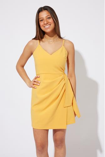 Yellow Whisper V-Neck Bow Envelope Dress YELLOW