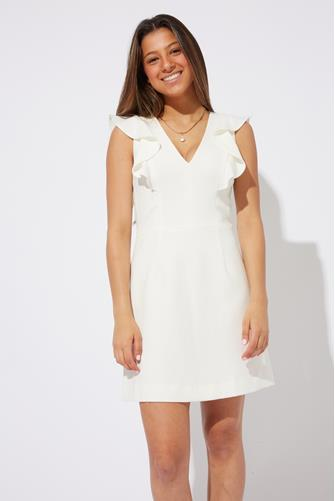 Whisper Ruffle V-Neck Dress WHITE