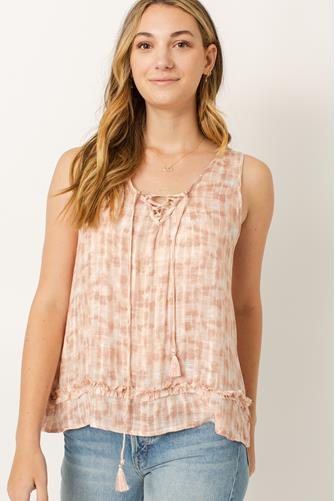 Lace Up Tank Top LITE PINK