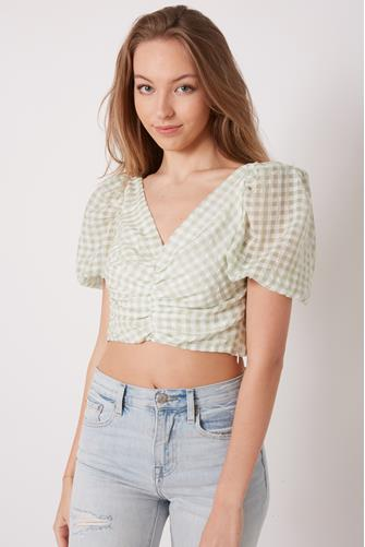 Ruched Front Gingham Top SAGE