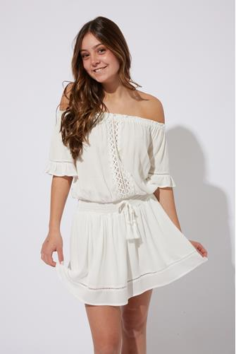 Crochet Trim Crepe Mini Dress WHITE