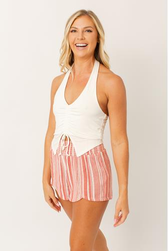 Knit Ruched Halter Top WHITE