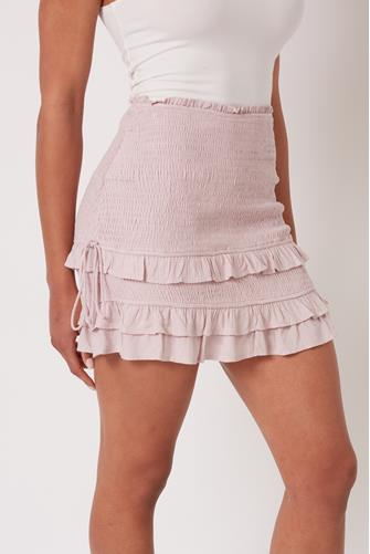 Pink Smocked Ruffle Side Ruched Mini Skirt PINK