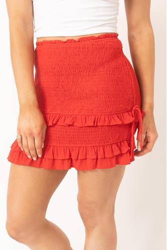 Red Smocked Ruffle Side Ruched Mini Skirt RED