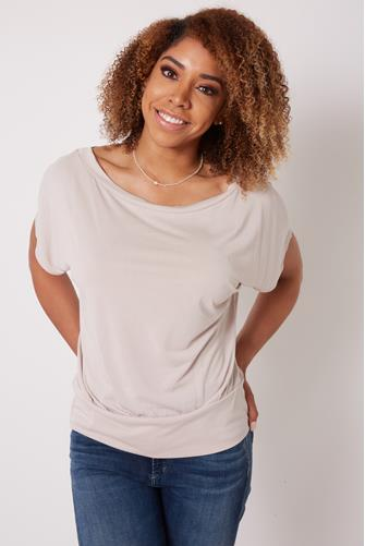 Short Sleeve Banded Top STONE