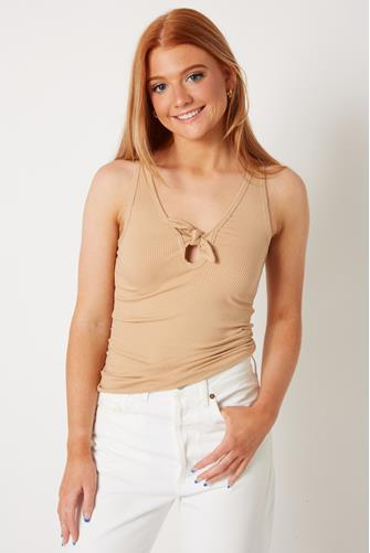 Ribbed Tie Front Fitted Tank Top TAN