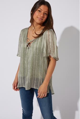Lurex Lace-Up Top SAGE