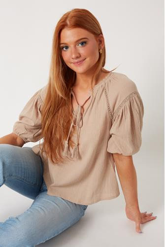 Lace Inset Blouse TAUPE