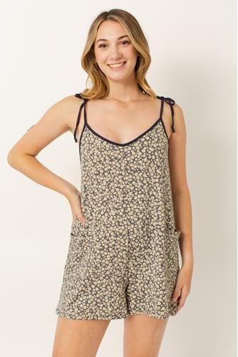 Floral Pocket Beach Romper Cover Up CHARCOAL