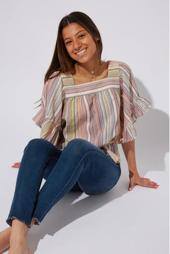 Naomi Square Neck Ruffle Top ORANGE MULTI -